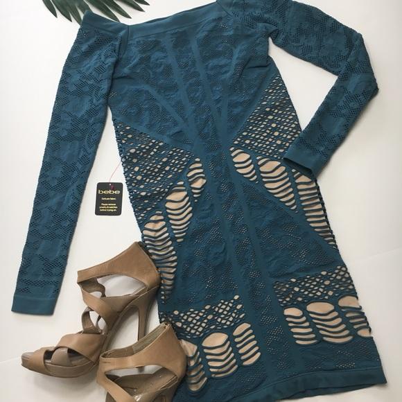 bebe Dresses & Skirts - Bebe Off Shoulder Mix Lace Dress, sz S